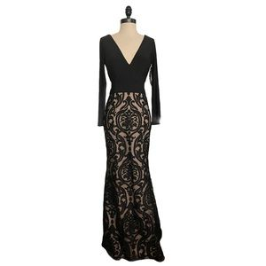 Xscape Damask Long Dress In Black And Nude